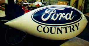 Advertising Blimp - 11ft. Ford Country logo - advertising ballons build your brand!
